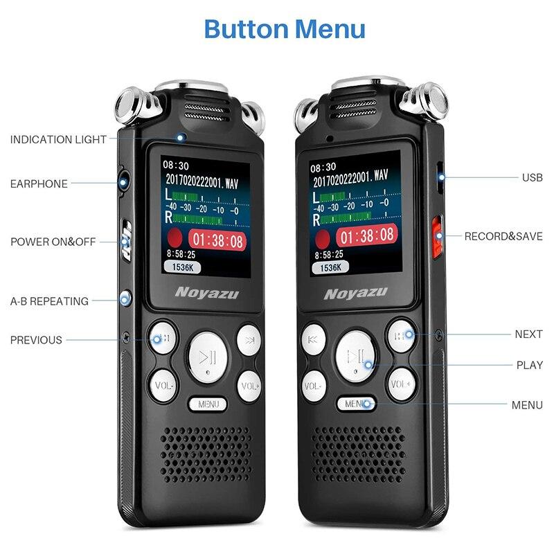 NOYAZU V59 16G double Microphone enregistreur vocal numérique stylo professionnel Dictaphone lecteur MP3 enregistreur sonore cadeaux d'affaires - 5