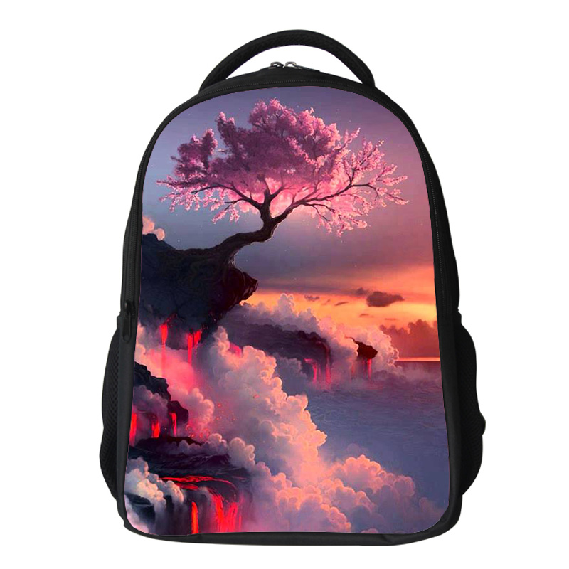 Girls cherry blossom Backpack Kids Oxford Personized School Bag Japanese Lanscape Painting Rucksack Casual Daypack for teenagers (15)