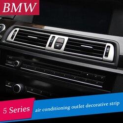 الكروم تكييف الهواء تنفيس غطاء إطاري تقليم الداخلية الترتر منفذ الهواء لوحة شريط زخرفي ثلاثية الأبعاد ملصق لسيارات BMW f10 5 سلسلة