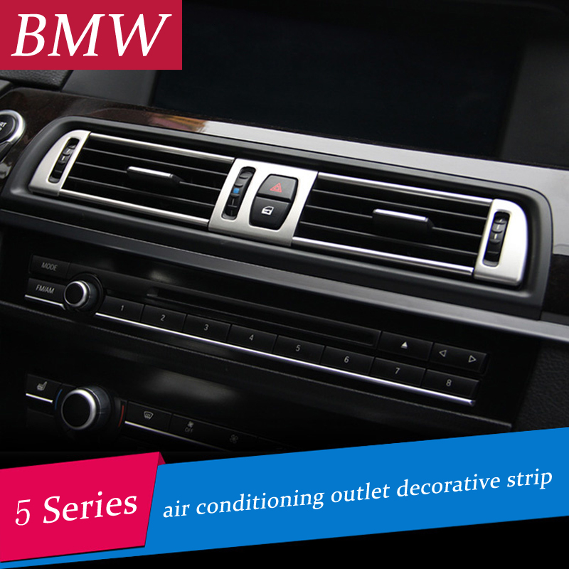 Chrome air conditioning vent frame cover trim interior sequins air outlet panel decorative strip 3D sticker for BMW f10 5 series