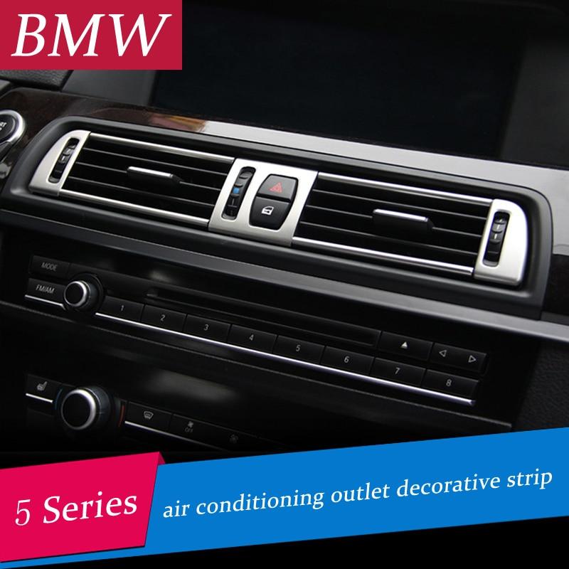 Chromuotas oro kondicionieriaus ventiliacijos rėmo dangtelis apdailos vidiniai blizgučiai oro išleidimo skydo dekoratyvinės juostelės 3D lipdukas, skirtas BMW f10 5 serijai