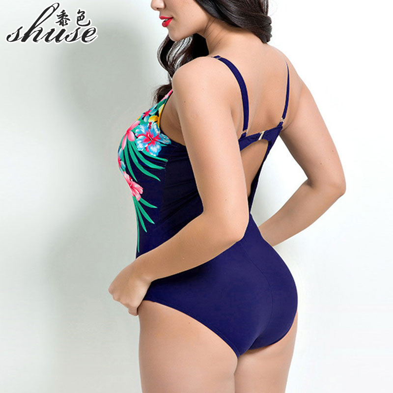 One Piece Swimsuit Sexy Swimwear Women Backless Bathing Suit Swim Summer Beach Wear Print Monokini Swimsuit Plus Size ...