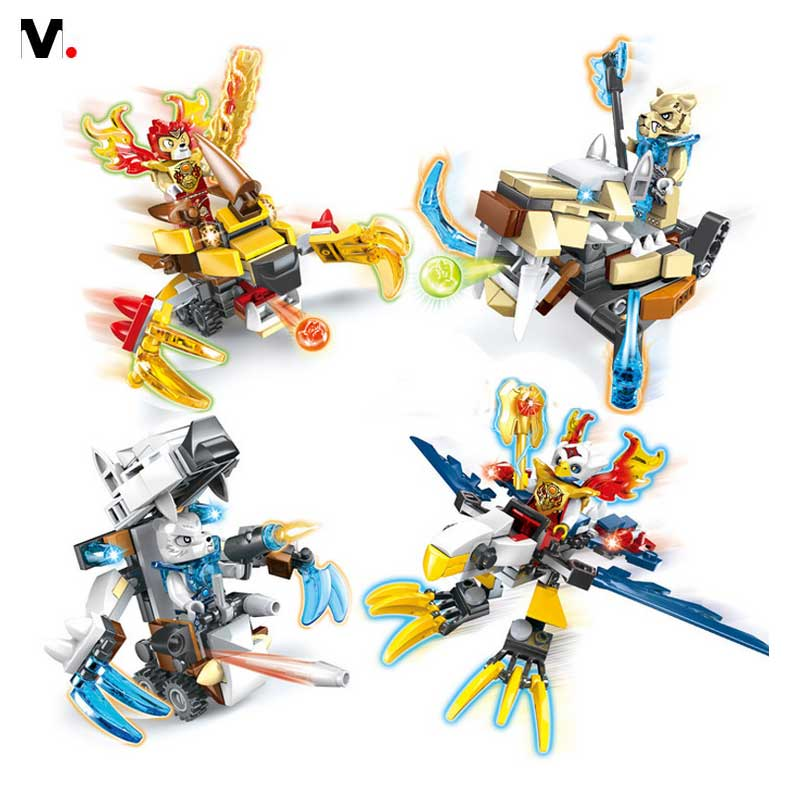 The children assembled puzzle font b LEGO b font Teddy Qigong battle 4 legendary animal Block