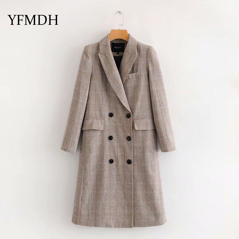 2018 Autumn New High Fashion Turn-down Collar Woman Classic Double Breasted   Trench   Coat Waterproof Raincoat Business Outerwear