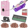 Pink  Portable 30000RPM Acrylic Pedicure Nail Art Drill Machine Set Kit Manicure Tool Bits Files with 2000mAH Built-in Battery