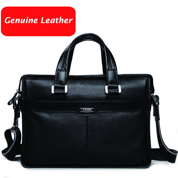 Free shipping P.kuone man commercial male handbag genuine leather shoulder men's casual bag leather briefcase