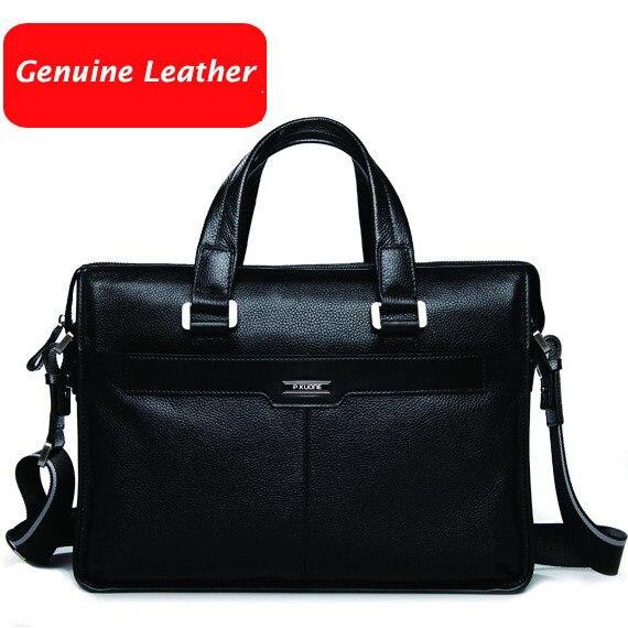 Livraison gratuite P. kuone homme commerciale mâle sac à main cuir véritable épaule hommes de sac occasionnel serviette en cuir
