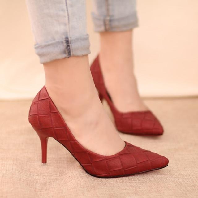 2016 primavera y otoño nueva moda de las mujeres señaló zapatos de mujer sexy zapatos de tacón alto cómodos del banquete, envío gratis