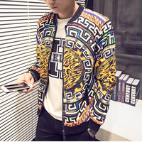 New 2016 Autumn Chinese Style Fashion Geometry And Leopard Print Bomber Jacket Men Veste Homme Men