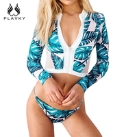 PLAVKY 2017 Sexy White Mesh Leaf Floral Biquini Zipper Swim Bathing Suit Swimsuit Thong Surf Swimwear