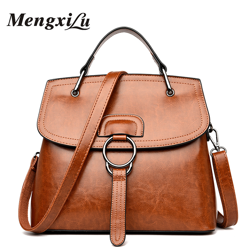 MENGXILU Luxury Handbags Women Bags Designer Oil Wax Genuine Leather Handbag High Quality Women Shoulder Bags 2018 Ladies Bag ladies genuine leather handbag 2018 luxury handbags women bags designer new leather handbags smile bag shoulder bag