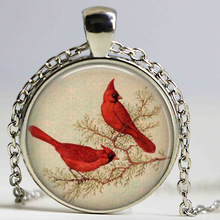 The love BIRD NECKLACE Retro vintage bronze Birds jewelry Red Birds necklace colar Gift for lovers for her HZ1