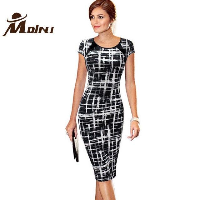 97cb578dd5ef Vestito Da Estate delle donne Ufficio Plaid Bianco   Nero Vestito Estivo  Vintage Abiti di Abbigliamento