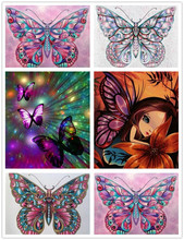 Diamond painting 5D do it yourself animal butterfly embroidered with stones Display a complete circular image of rock crystal