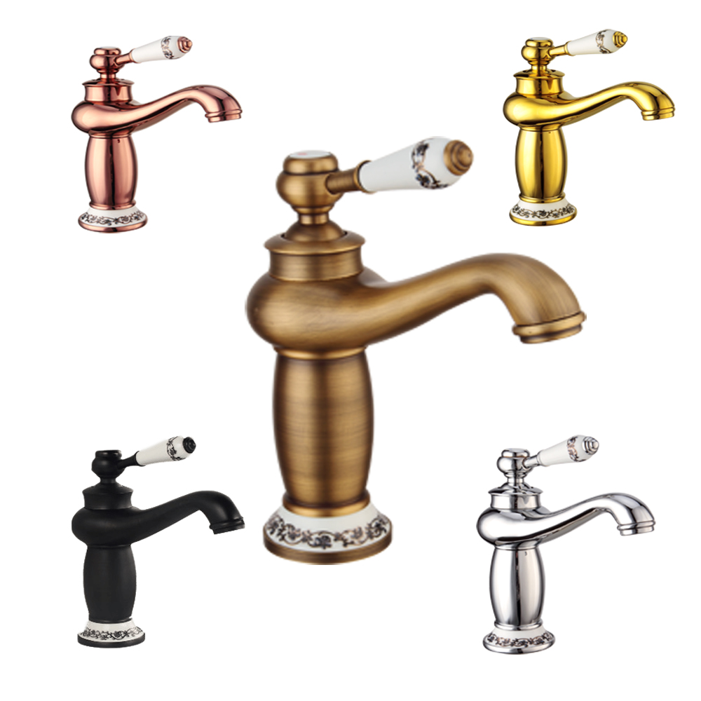 Home Improvement Bathroom Fixtures Chrome Solid Brass Faucet Brushed Antique Faucets Bathroom Basin Taps Hot&cold Mixer Tap Porcelain Rotatable Deck Mounted Tap High Quality Goods