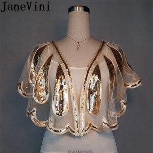 Image 2 - JaneVini brillant perles Mariage Capes haussement dépaules luxe or argent paillettes femmes boléro mariée Wrap boléro Novia Cape Mariage
