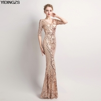 YIDINGZS Women S Elegant Mermaid Gold Sequins Dress Half Sleeve Evening Dress Party Long Prom Dress