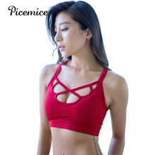 Picemice Athletic Underwear Workout Running Clothing 2019 Sexy Gym Padded Sport Top Tether Sports Bra Women Fitness Yoga Bras