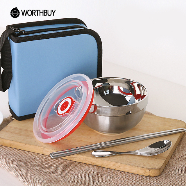 WORTHBUY Portable Stainless Steel Dinnerware Set For Kids Adults Travel C&ing Picnic Tableware Set Bowl Cutlery & WORTHBUY Portable Stainless Steel Dinnerware Set For Kids Adults ...