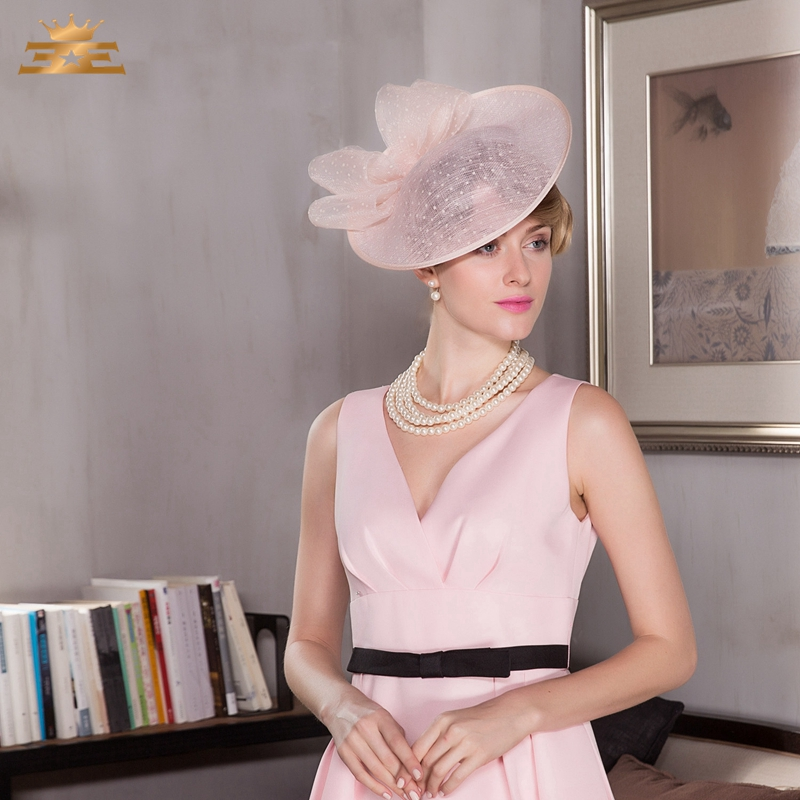 05f5040f4 US $34.11 35% OFF|Fashion Summer Woman Pink Linen Pillbox Hat Elegant  Ladies Weddings Dress Hats Banquet Party Cap B 8153-in Women's Fedoras from  ...