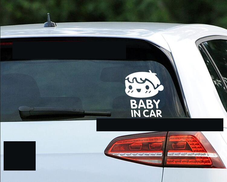 Image 4 - 10 Pieces 11*14CM BABY IN CAR Tail Warning Stickers Rear Car Stickers Baby In The Car Baby BOY Pattern Car Styling Black White-in Car Stickers from Automobiles & Motorcycles