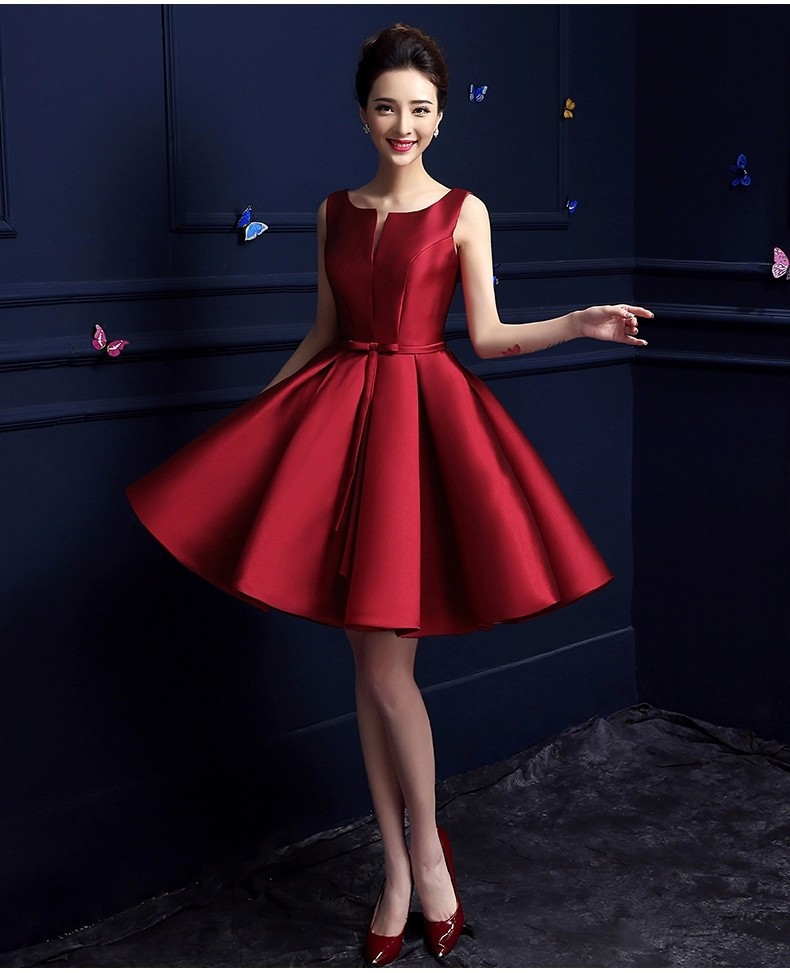 Simple Sleeveless Red Cocktail Dresses Elegant High Quality Stain ...