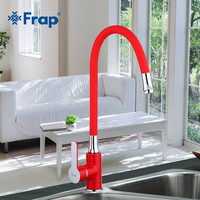 Frap Business Style Red Silica Gel Nose Any Direction Red Kitchen Faucet Cold And Hot Water