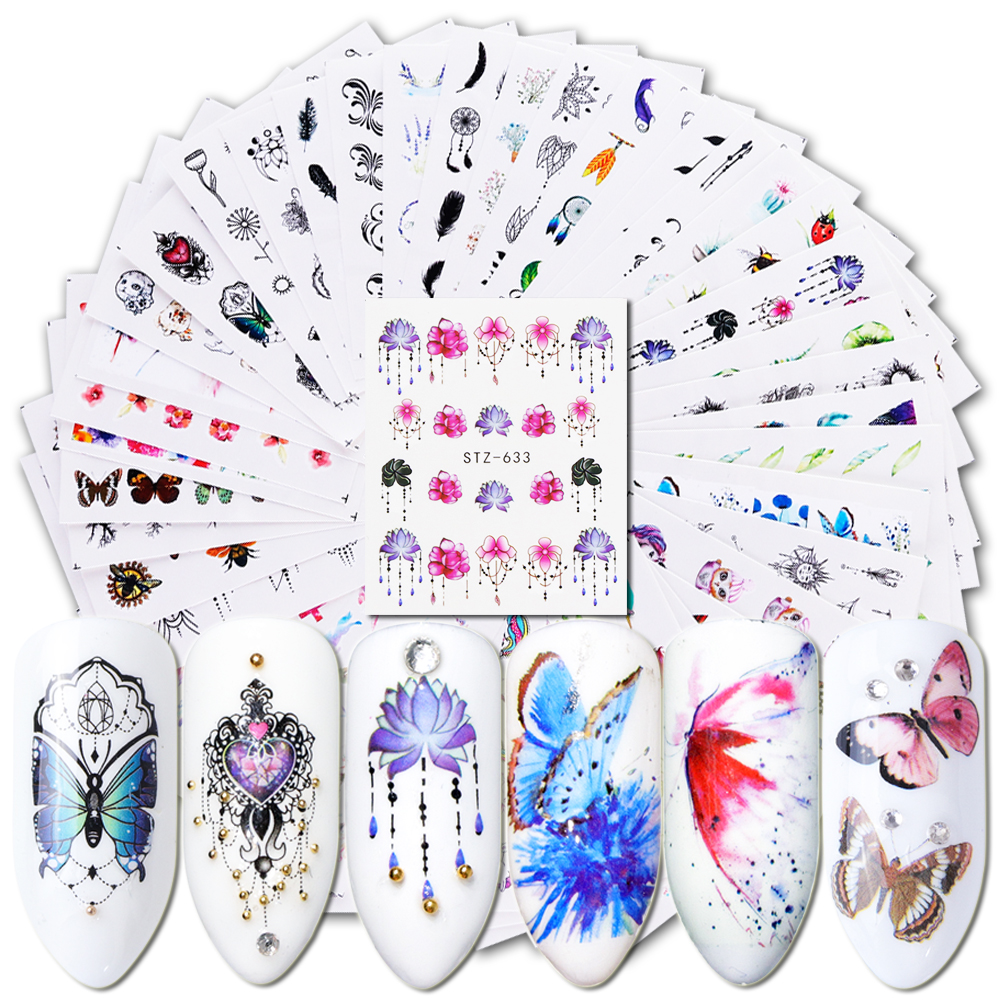 Water-Transfer Decal Nail-Stickers Decoration Adhesive-Tip Slider Tattoo-Flower Manicure