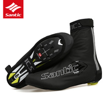 Santic Cycling Shoe Covers PU Waterproof Anti-rain Road Bike Bicycle Shoe Cover Reflective Cycling Overshoes Zapatillas Ciclismo