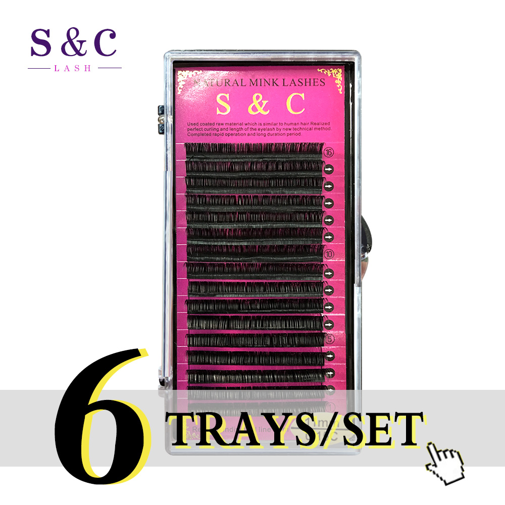 S&C Lash , 6cases/lot J B C D Curl All Size Eyelash Extension Individual Mink Synthetic Fake False Eyelashes