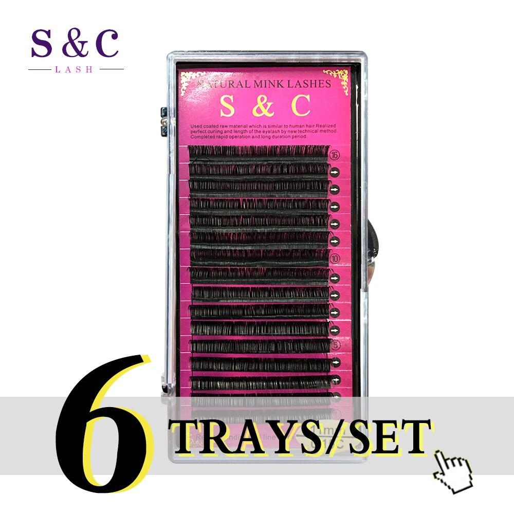 S&C Lash , 6cases/lot  J B C D Curl All Size Eyelash Extension Individual Mink Synthetic Fake False Eyelashes