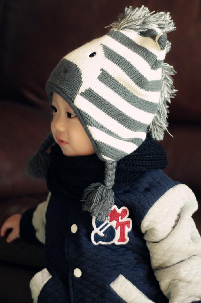 Baby Boys Winter Warm Hats Cartoon Zebra Pattern Caps Kids Knitted Caps Ear Flaps Beanies Children's Girls Cute Animal Sckullies 9
