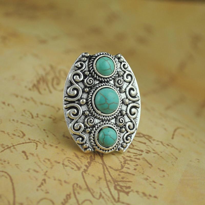 da4875ede0a3 Elegante Bohemia étnica vintage tibetano color plata joyería tallada Oval  para el regalo de la joyería de las mujeres