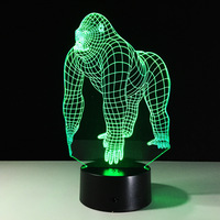 Touch Switch Orangutan 3d Lamp Remote Switch 3d Desk La Novelty Led Usb Night Light Mini