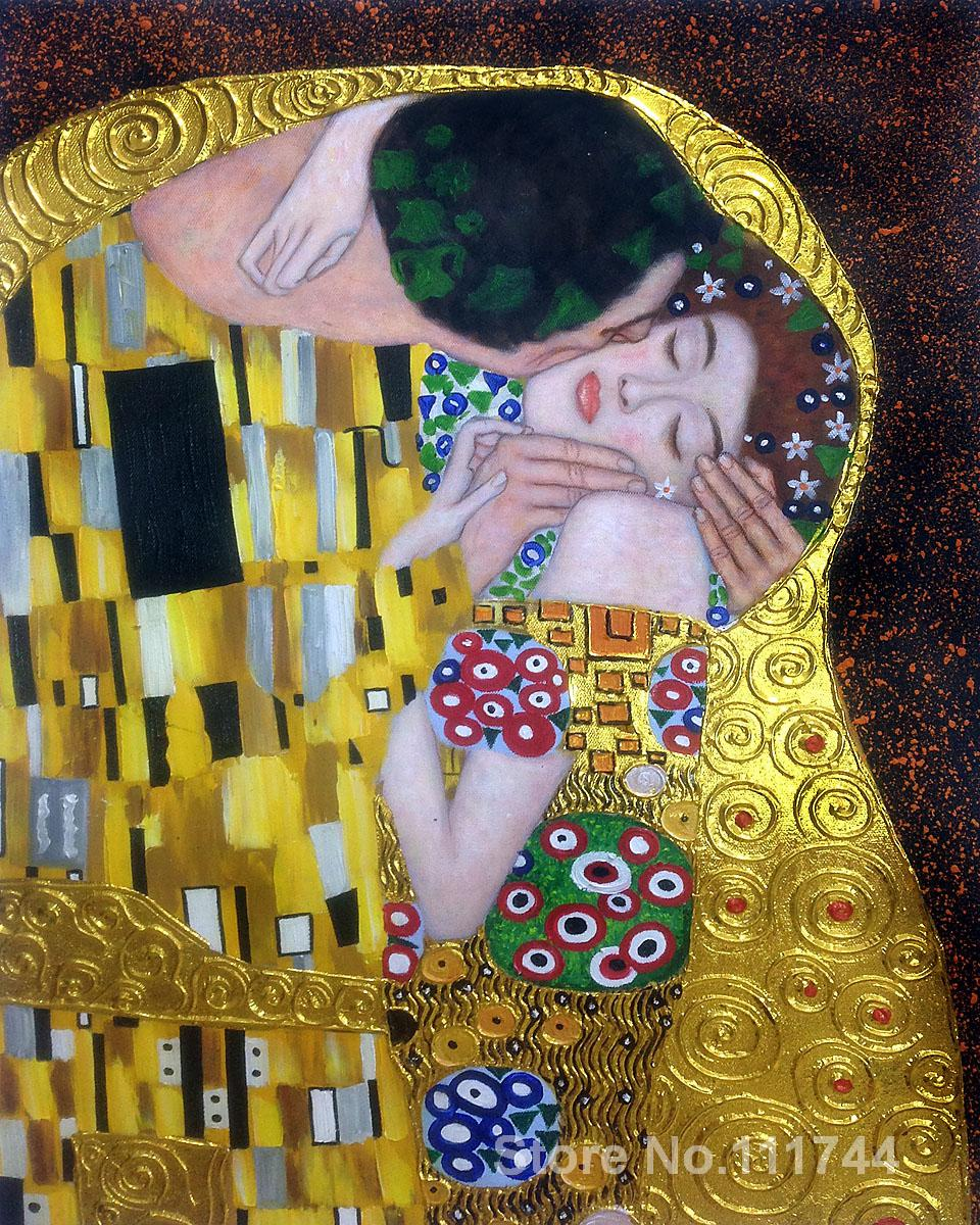 Famous Art That Uses Line : Colors gold paintings of famous artist the kiss luxury