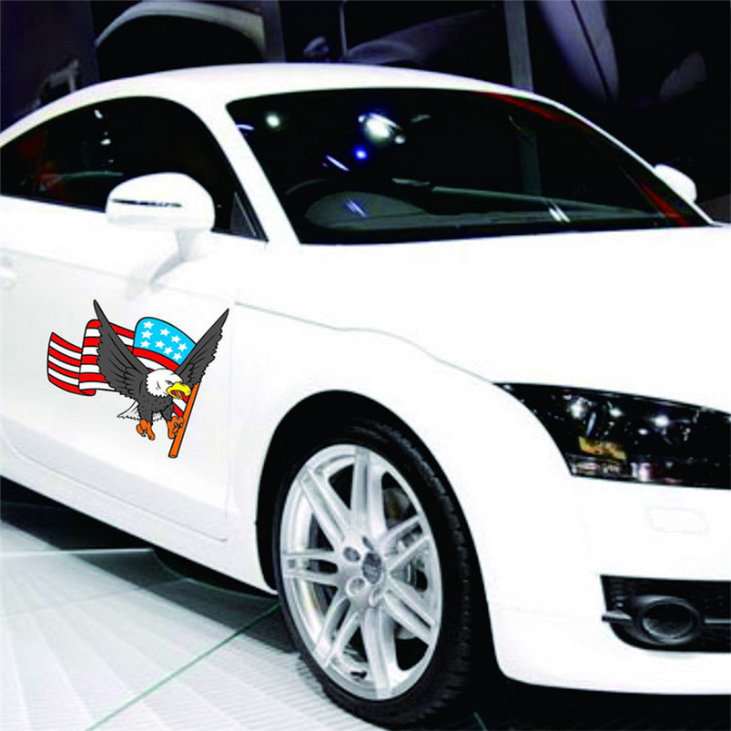 2017 Newest Car Decal Flying Hawk Auto Truck Hood Side Eagle Usa Flag Sticker Accessories Styling Stickers Decals In From Automobiles