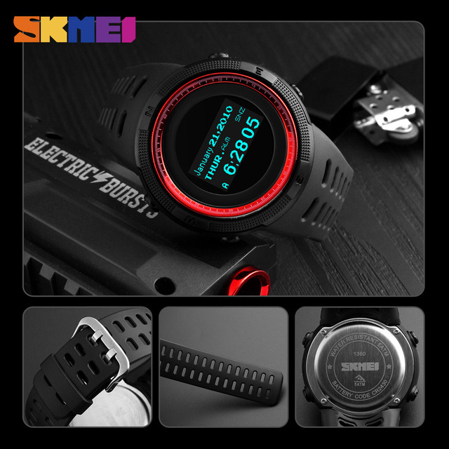 SKMEI Fashion Sport Watch Men Waterproof Calorie Steps Mileage Digital PU Strap Watch Compass Wristwatch Relogio Masculino XFCS
