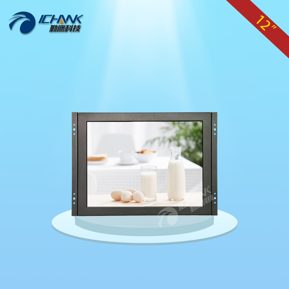ZK120TN-V591/12 inch 800x600 Metal Case Open Frame Remote Control BNC HDMI Monitor Embedded Wall-mounted VGA LCD Screen Display zk080tn 2660 8 inch 1024x768 metal case vga hdmi signal open embedded frame wall hanging industrial monitor lcd screen display