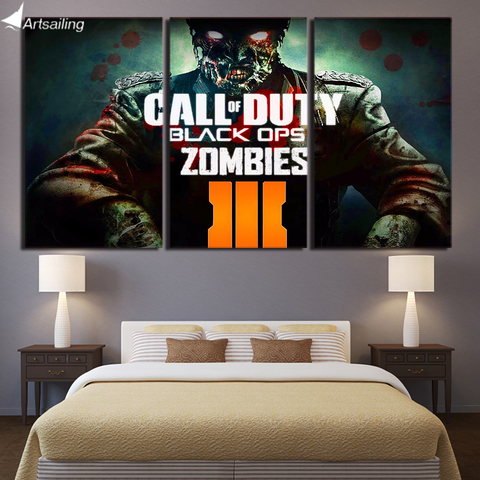 3 piece canvas painting Call of Duty Zombies HD posters and prints canvas painting for living room free shipping/ CU-1651B