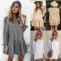 OUFANCI Fashion Autumn Winter Dress Women Solid O Round Neck Woman Dress Plus Size Loose Bandage Boho Vintage Causal Dresses