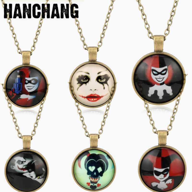 Drop Shipping Funny Glass Dome Pendant Necklace Suicide Squad Clown Time Gem Necklace Women Girls Jewelry Chain Link Necklace