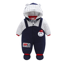 Autumn Winter New Baby Rompers Newborn Jumpsuit Long -sleeved Hooded Infant Boys Girls Clothes