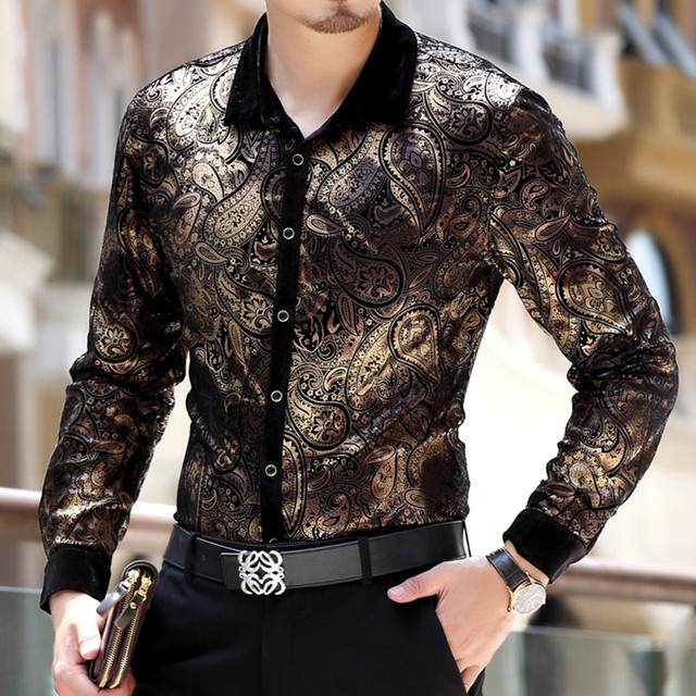 Spring Fall Fashion Designer Men's Gold Printed Floral Velvet ...