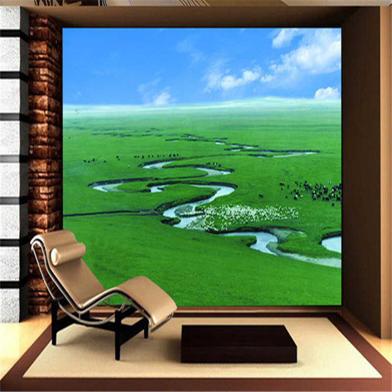 3D Custom Wallpapers Natural Landscape Style Murals Grassland Leaf Tree Photo Walls Papers for Living Room Background Home Decor custom photo size wallpapers 3d murals for living room tv home decor walls papers nature landscape painting non woven wallpapers