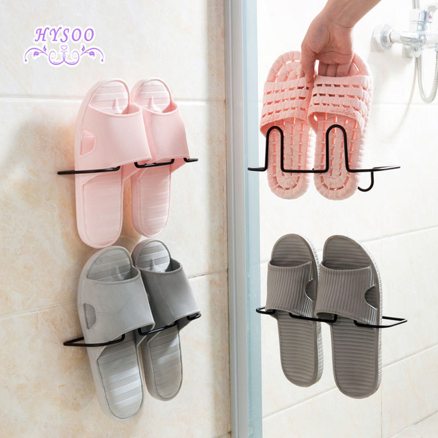 Iron Wall Hanging Shoes Rack Bathroom Slippers Shelves Home Living Room Simple