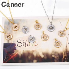 купить Canner Cubic Zirconia 26 Alphabet Letter Pendant Gold Silver Color Initial Charm Chain Necklace Women Jewelry Collar Gifts A40 дешево