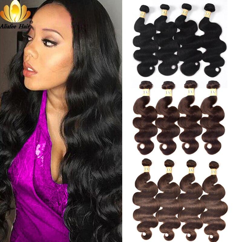 Aliafee Hair Peruvian Body Wave Weave 4 Bundles Deal #1b/#2/#4 Colored Hair Bundles Human Hair Extension Non-Remy 8-30