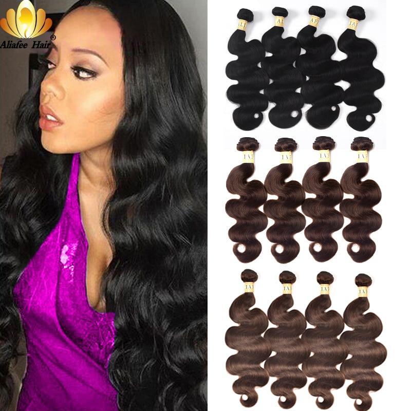 Aliafee Hair Peruvian Body Wave Weave 4 Bundles Deal #1b/#2/#4 paquetes de pelo coloreado extensión de cabello humano no Remy 8 -30