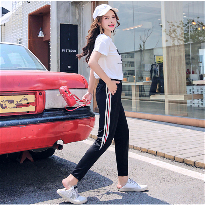 Sportswear Summer Cotton Sweatpants Woman Student Casual Harem   pants     capris   long   pants   Ankle length black Side Stripe Trousers