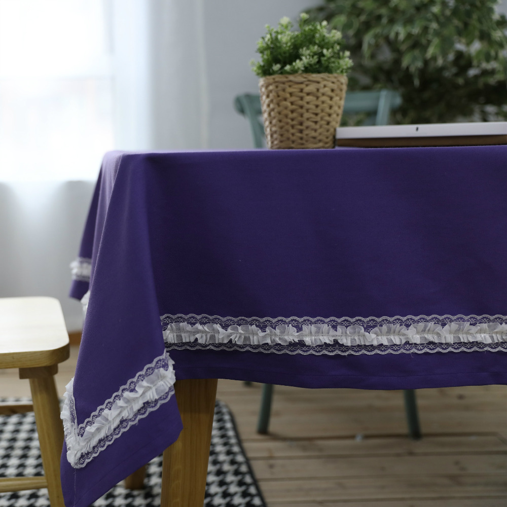 WLIARLEO Tablecloth with Lace 100% Cotton Restaurant Dining Table Cloth Rectangular Purple table cover manteles para mesa